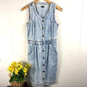 River Island Size 10 Light Blue Jean Wash Dress
